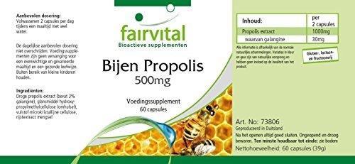 Bienen Propolis Extrakt 500mg - 60 Kapseln für 1 Monat - standardisiert auf 3% Galangin - natürliches Bienenharz - 9